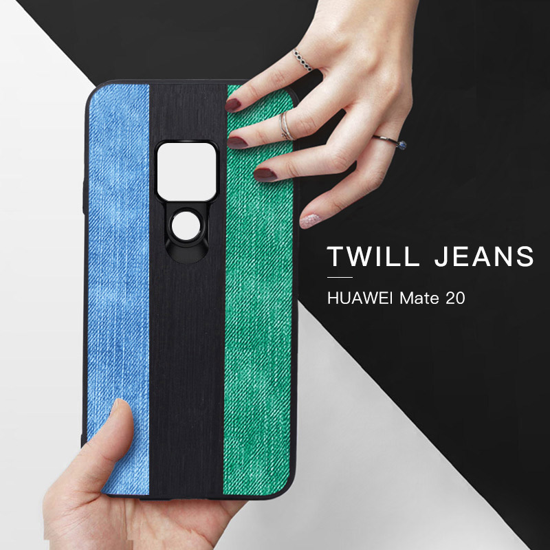 Original Yagoo Jeans Canvas Phone Case For Huawei Mate 20 Pro Soft Back Cover Shell Vintage Black Green Blue Silicone Fundas
