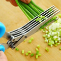 NEW Multifunctional Stainless Steel Kitchen Tool 5 Layers Scissors Sushi Shredded Scallion Cut Herb Cooking Spices Scissors