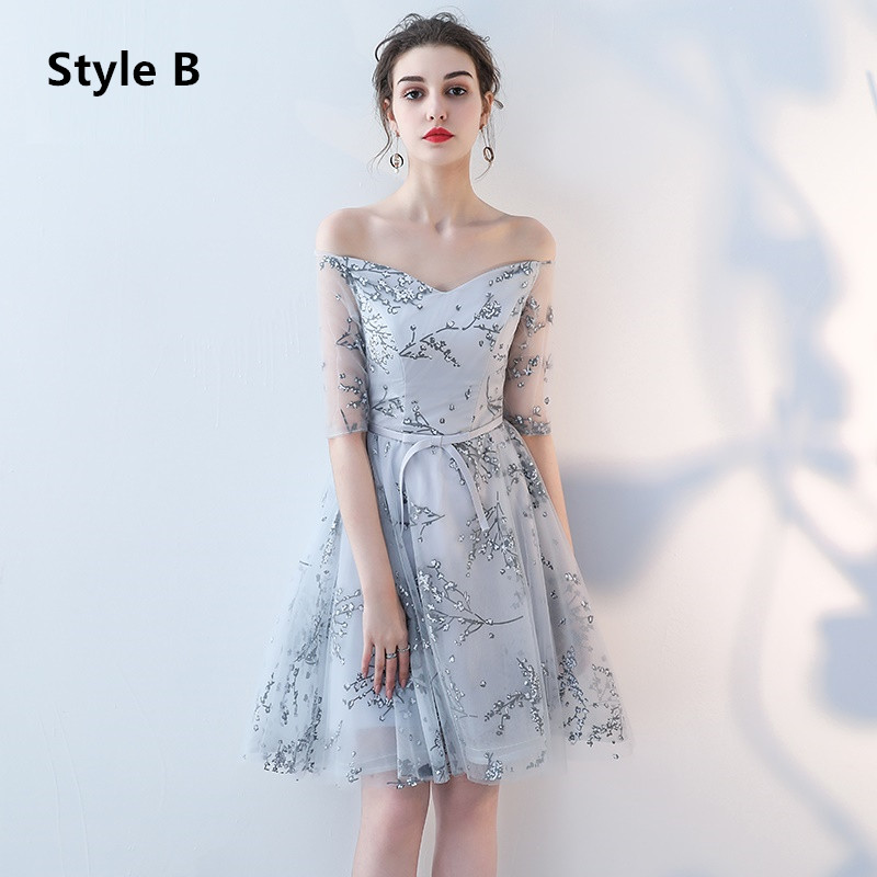 Flower Pattern Sashes Lace Knee Length Bridesmaid Dress 4