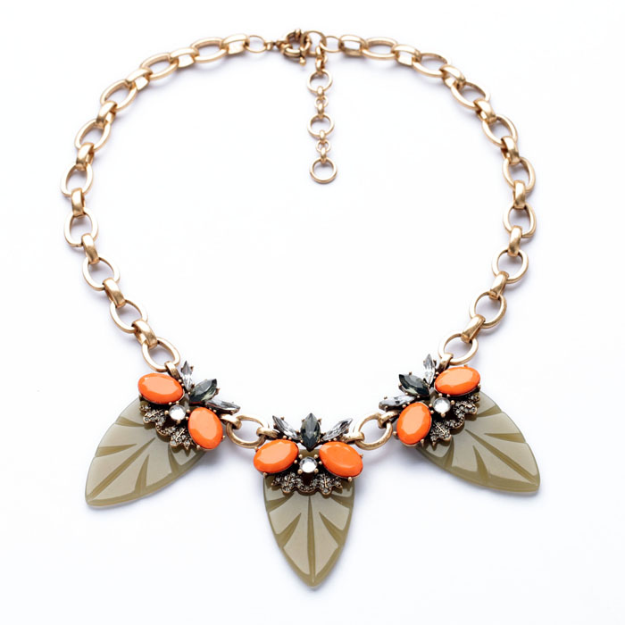 Fashion Indian Jewelry Necklace aliexpress Orange Resin Gem Gray Leaf Necklace Collier F ...