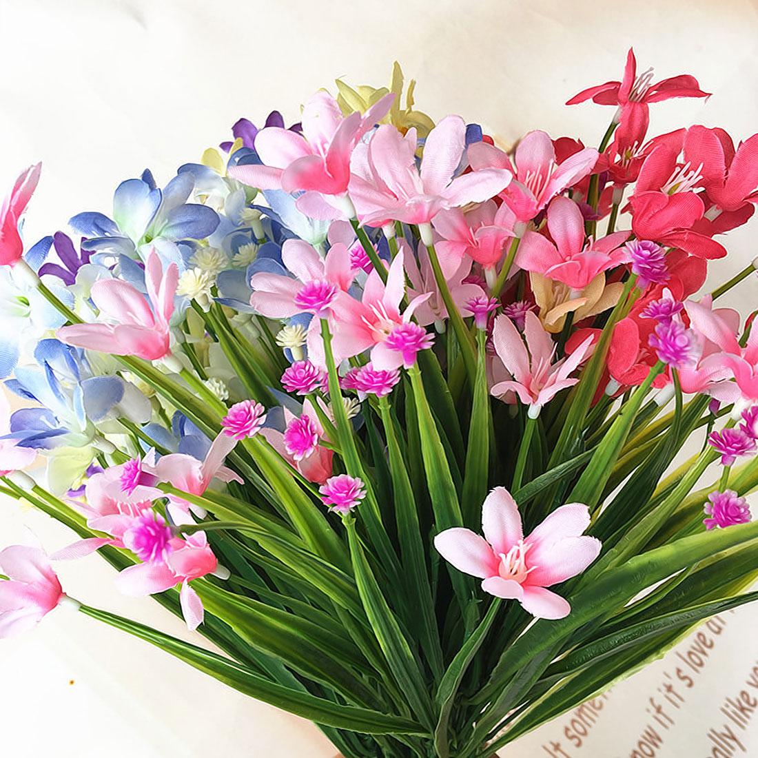 1 Bunch Artificial Flower Plastic Orchid Plant Fake Silk Flower