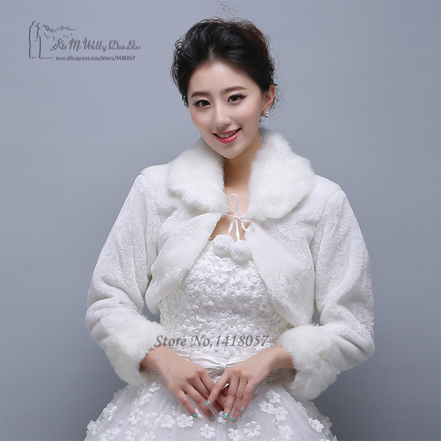 f6a9d071427 White Red Short Wedding Jacket Wraps with Long Sleeves for Bridal Winter  Formal Dresses Cape Warm Cloaks White Faux Fur Bolero