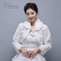 White Red Short Wedding Jacket Wraps with Long Sleeves for Bridal Winter Formal Dresses Cape Warm Cloaks White Faux Fur Bolero