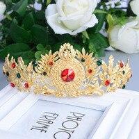 Baroque Luxury Vintage Bright Gold Flower Leaf Pearl Fine Hairbands Women Headband Bow Crystal Bridal Hair