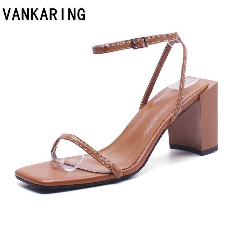 VANKARING Chunky heel women ankle strap gladiator sandals women summer shoes fashion female sandilas genuine leather