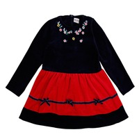 High Quality Nova Kids Clothes Spring Autumn Baby Girls Navy Color Long Sleeve Lolita Dresses For