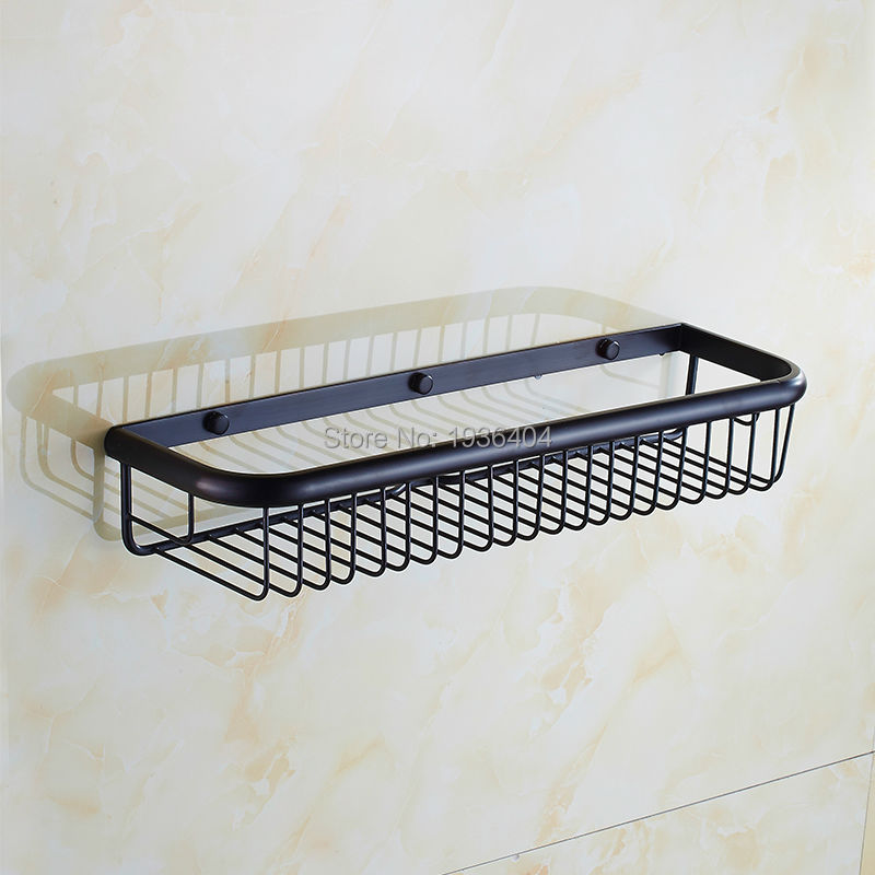Bath Shower Storage Holder High Weight Capacity Retro Black Bronze Basket Shelf Wall Mounted Kitchen Corner Basket Rack BS3210 aothpher steel chrome strong suction shower basket sucker bathroom shelf washing room kitchen corner basket wall mounted rack