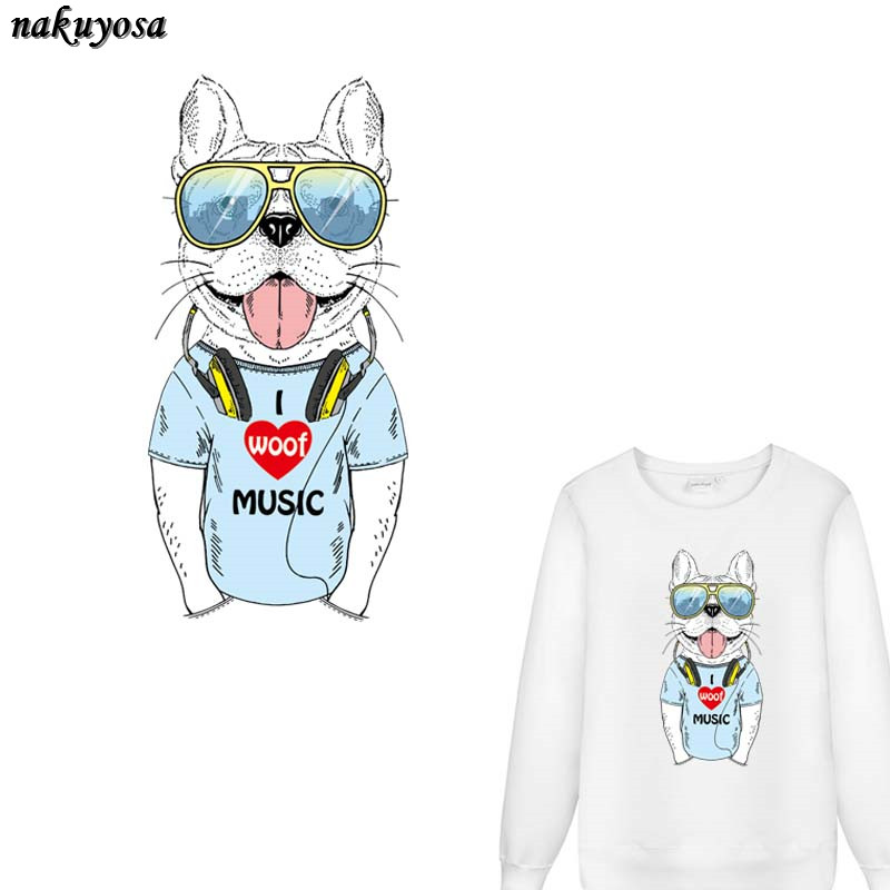 5pcs Music Dog Patch WOOF T-shirt Dresses Sweater DIY Accessory A-level Washable Iron-on Transfers Heat Press Appliqued 32*15CM