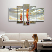 Large 5 Panel Pictures Canvas Paintings Set Modern Abstract Home Decoration Wall Art Hand Painted Sailboat Seascape Oil Painting