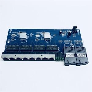 10/100/1000M Gigabit Ethernet switch Ethernet Fiber Optical Media Converter Single Mode 8 RJ45 UTP and 2 SC fiber Port Board PCB