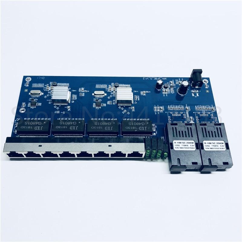 Ethernet-коммутатор 2G8E 1000M Gigabit, волоконно-оптический медиа-преобразователь, один режим 8 RJ45 UTP и 2 SC волоконно-портовая плата PCB