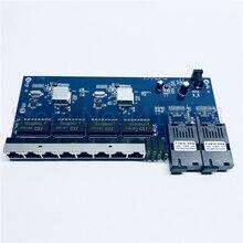 Conmutador Ethernet Gigabit de 10/100/1000M convertidor de medios ópticos de fibra Ethernet modo único 8 RJ45 UTP y 2 puerto de fibra óptica SC Board PCB