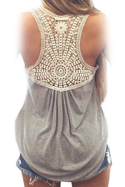 Blusa de renda Casual Tank Top Women Scoop Neck Lace Splicing Striped Loose Tank Tops Veste Femme LC25827 Ladies Vest Singlets