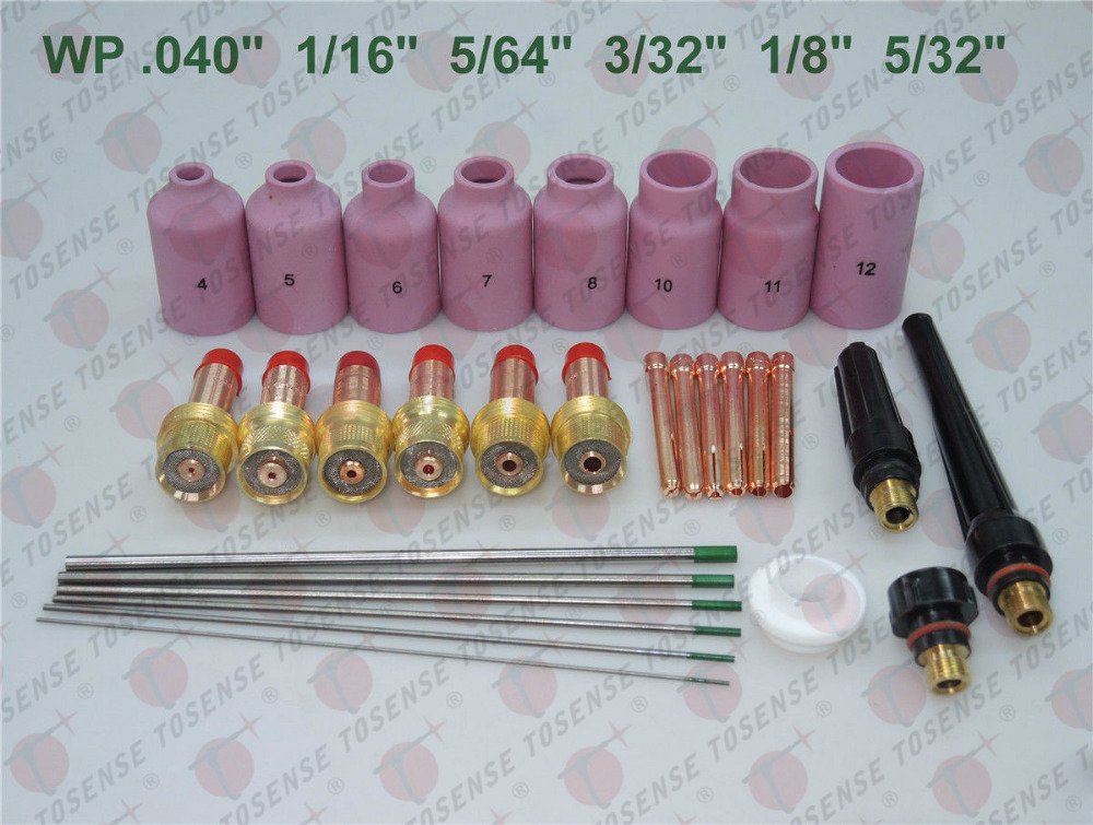 30 pcs TIG Welding Torch Gas Lens Kit WP-17 WP-18 WP-26 Pure Tungsten Electrode