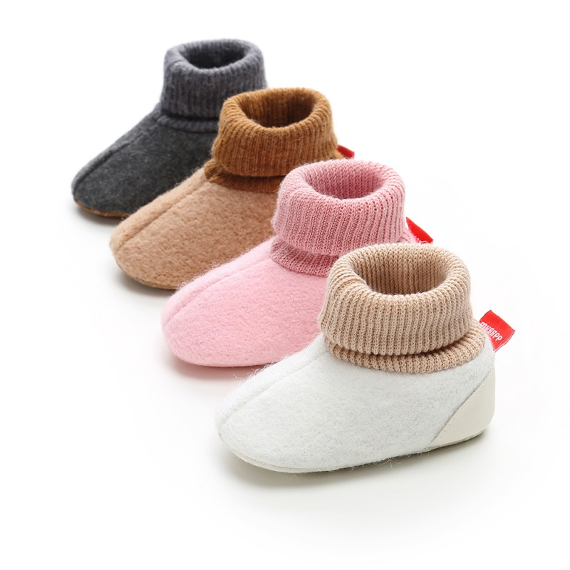 Toddler Shoes Newborn Knitted Flock Warm Pre-walker Shoes Baby Shoes New Winter Infant Soft Soled First Walkers 0-18M A