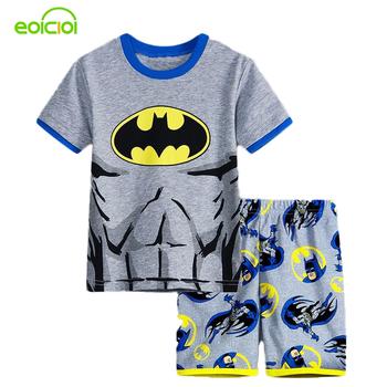 Chłopiec dziewczyny piżamy nowe lato bawełny ubrania dla dzieci dziewczyny zestaw Krótki rękaw ubrania zestawy Batman Spiderman Iron Man Krótki rękaw tanie i dobre opinie Pajamas EOICIOI Unisex Pasuje do rozmiaru Weź swój normalny rozmiar Sukno Zwierząt pajamas for kids 2-7y Poliester bawełna