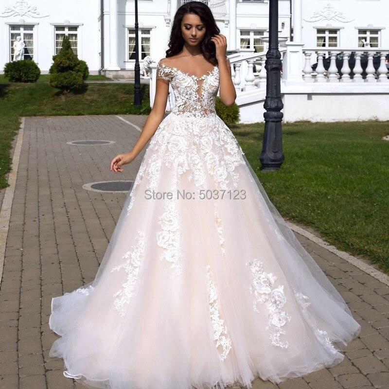 A Line Princess Wedding Dresses 2019 V Neck Lace Appliques Boho Wedding Bridal Gown Plus Size Off The Shoulder Vestido De Noiva