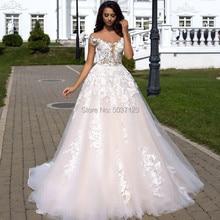 Una línea princesa vestidos de novia 2019 V cuello de encaje apliques Boho boda Vestido de novia talla grande Vestido de hombro de novia De