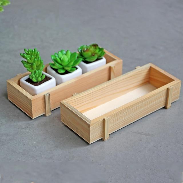 1 unid Venta caliente vintage mini cajas de madera plantas en maceta ...