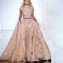 Elegante Kurzarm Abendkleider A-Line Sheer V-ausschnitt Abendkleider mit Gürtel