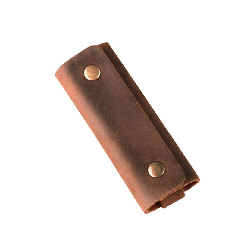 3PCS/Lot Wholesale Genuine Leather Handmade Minimalist Key Holder Vintage Men Keychain Housekeeper Keys Organizer Key Pouch