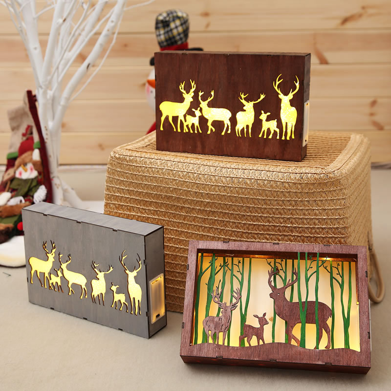 Christmas Ornaments Decorations For Home New Year Party Decor Christmas Light Decor Accessories Wooden Gift With Led Lights in Pendant Drop Ornaments from Home Garden