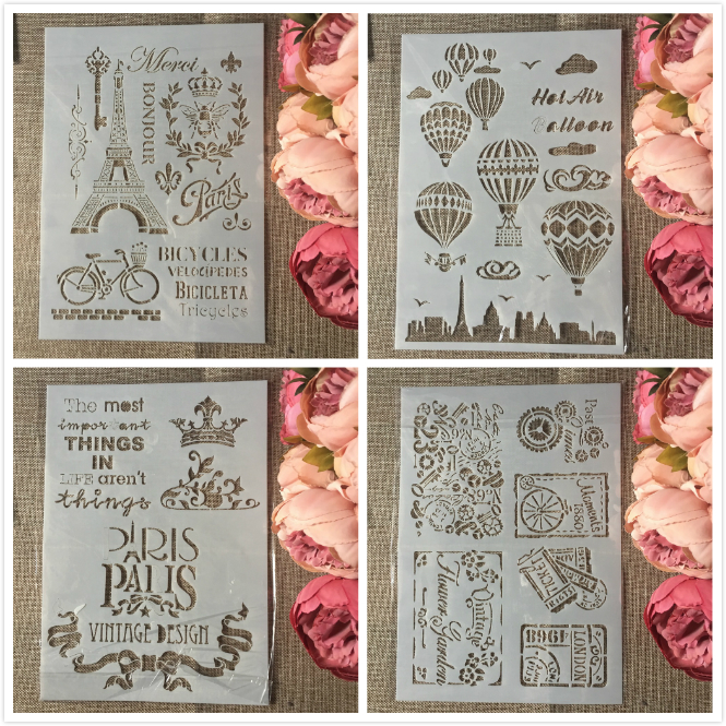 4Pcs/Set A4 Paris Tower Envelop Balloon DIY Layering Stencils Painting Scrapbook Coloring Embossing Album Decorative Template