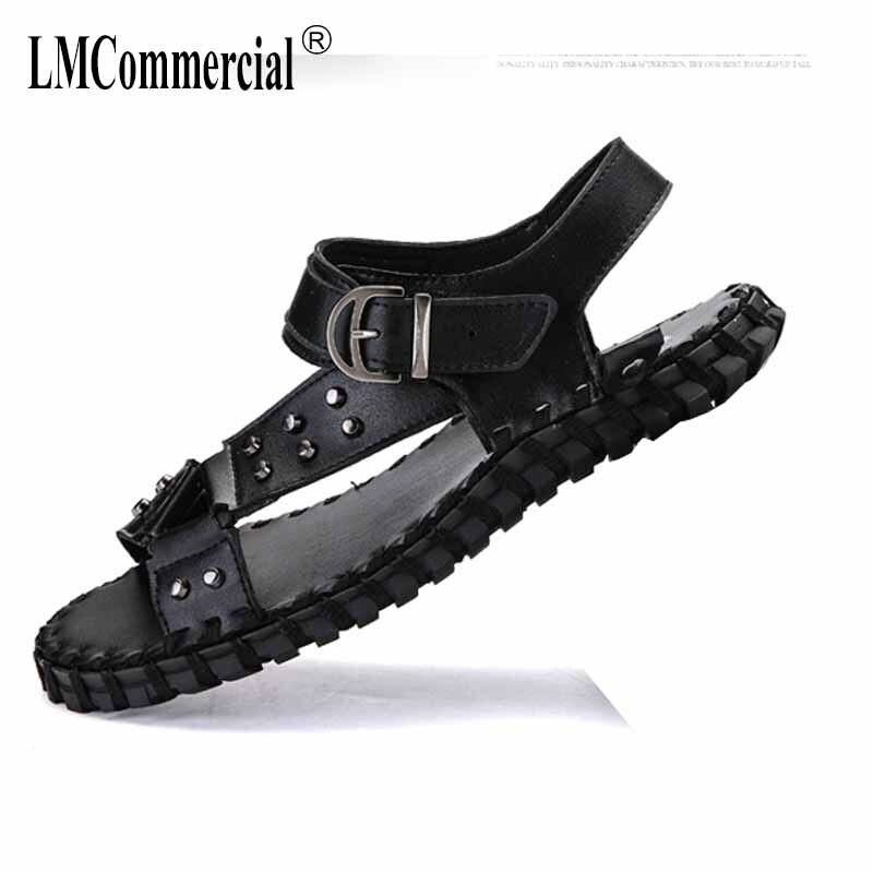 2e363a830f35 2018 summer new breathable men s shoes British casual men sandals rivets Sneakers  Men Slippers Flip Flops