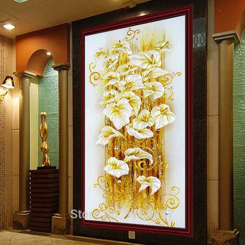 Nuevo bordado de diamante con flores de lirio, pintura de diamante de cristal, punto de cruz brillante, estampado pintura Vertical, lienzo 130X70 cm