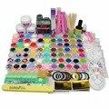 Hot Sale Nail Art Builder Set Acrylic Powder Liquid Glitter False Nails Files Glue Brush Tweezer Primer Tips Manicure Tools Kit