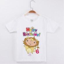 2019 Brand New Summer Kids Clothes Birthday T-shirt Leo Printing 100% Cotton Children Clothing T Shirts Girl Tops Boy Tshirt
