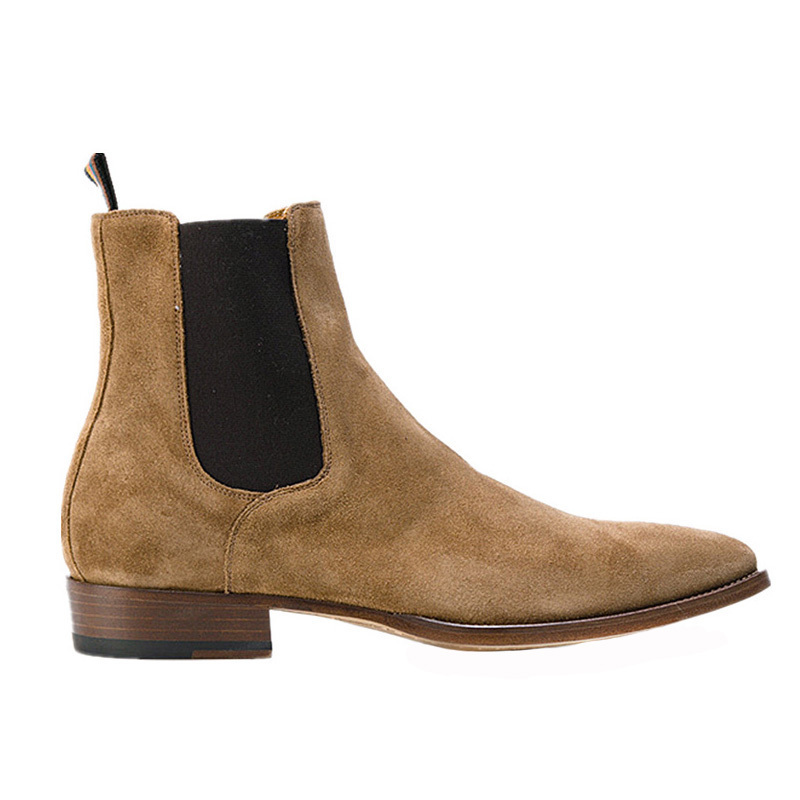 все цены на New Arrival Famous Handmade all-matching brand Mens Chelsea Boots Pointed Nubuck leather Mens Buckle Slp Kanye west Shoes