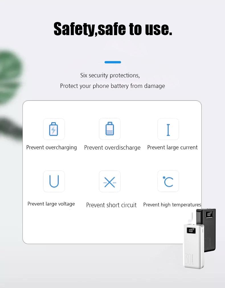 30000 мАч Внешний аккумулятор, внешний аккумулятор, 2 USB светодиодный внешний аккумулятор, type-c, портативное зарядное устройство для мобильных телефонов Apple, Xiaomi