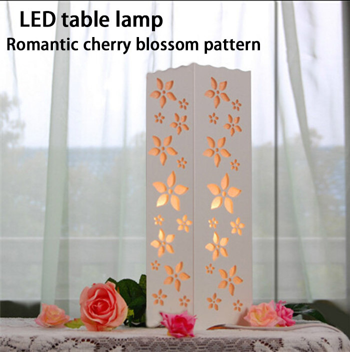 Romantic Cherry Blossom Pattern Table Lamp Ac85 265v 5w The White