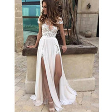 ddc5ccb27 Playa vestidos de boda de verano de 2019 playa de una línea de encaje  blanco marfil Top gasa falda lateral Vestido de novia Boho.