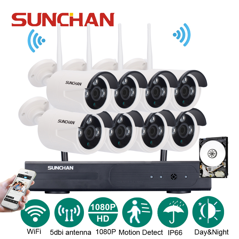 SUNCHAN 8CH 1920*1080 NVR Wireless CCTV Security Camera System 8pcs 2.0 Megapixel Outdoor Wifi IP Surveillance Camera Kit w/HDD sunchan 8ch ahdh security camera system 8 chanel dvr system 8x1080p 3000tvl indoor sony cctv camera surveillance system kit