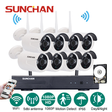 SUNCHAN 8CH 1920*1080 NVR Wireless CCTV Security Camera System 8pcs 2.0 Megapixel Outdoor Wifi IP Surveillance Camera Kit w/HDD