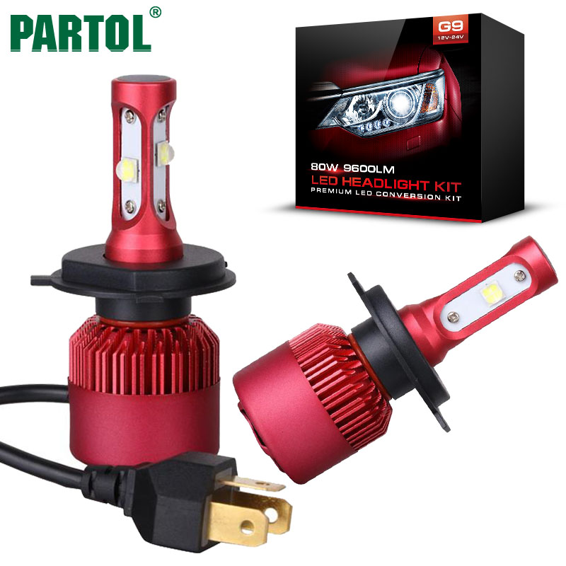 Partol H4 HB2 9003 Car LED Headlight Bulbs 80W 72W 50W CREE Chips All In One
