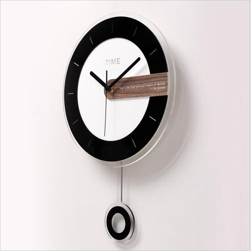 Deux-pièces horloge murale Design moderne ronde acrylique aiguille pour décoration de la maison nordique Wagtail horloge murale montre simple Face - 4