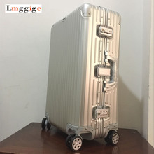 New 20 25 inch100 Full Aluminum shell Luggage Upgrade Multiwheel Suitcases Rivet Metal angles reinforced Roller