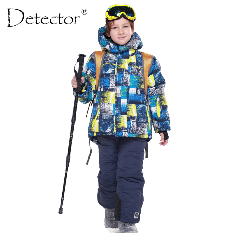 Detector Boys Ski Sets Waterproof Windproof Children Clothing Kids Winter Warm Snowboard Outdoor Ski Suit Boys Ski Jacket detector girls ski set children waterproof windproof clothing kids ski set winter warm snowboard outdoor girl ski jacket