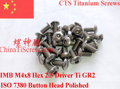Titanium screw M4X8 ISO 7380 Button Head Hex 2.5 Driver Ti GR2 Polished 10 pcs 50pcs lot iso7380 m3 x 6 pure titanium button head hex socket screw