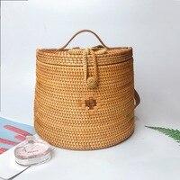 2019 Богемия для женщин bamboo вязаный рюкзак ручной работы пляжная сумка