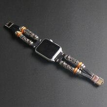 Браслет ручной работы в народном стиле с бусинами для Apple Watch, ремешок 38 мм, 40 мм, 42 мм, 44 мм, серия 2, 3, 4, 5, ремешок из натуральной воловьей кожи для iWatch