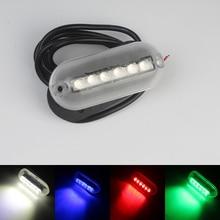 12 В МОРСКОЙ лодочный светодиодный подводный светильник, 6 светодиодов, Ландшафтная лампа для бассейна, пруда, красный/синий/зеленый/белый