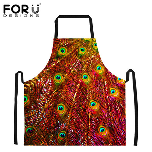 N\A Colorful Feather Peacock Bird Apron Oilproof Unisex Kitchen Apron Cooking Accessories for BBQ Hotel Craftsman Colorful Feather Peacock Bird