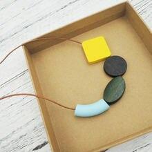 Желтое деревянное геометрическое ожерелье минималистский эффектный
