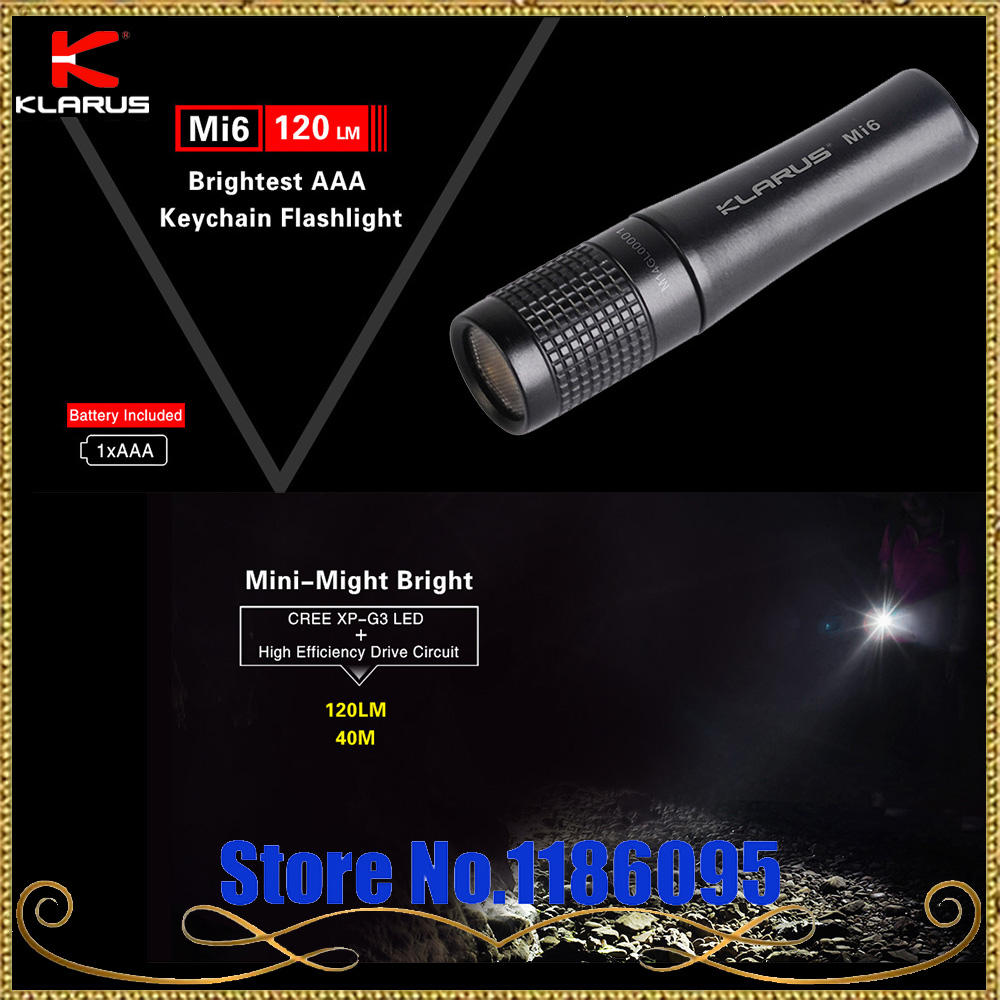 KLARUS Mi6 CREE XP-G3 LED 120 lumens by 1 x AAA battery Mini Exquisitely detailed Finger sized Flashlight