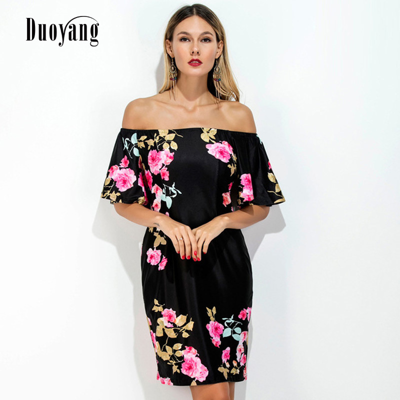 New Sexy Strapless Beautiful Flowers Printed Black Dress Women Slim Slash Collar Ladies Summer Dresses