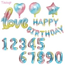 Taoup 32 인치 해피 어린이 생일 풍선 호일 그라디언트 색상 무지개 번호 Ballons 편지 Balon 헬륨 Baloes 결혼식